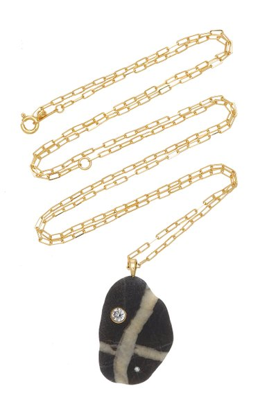 One-Of-A-Kind Bridge 18k Gold Beach Stone Necklace