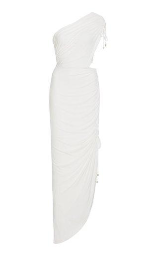 Cindy Asymmetric Ruched Cutout Jersey Maxi Dress
