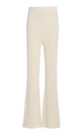 Sofia Ribbed-Knit Flared Pants
