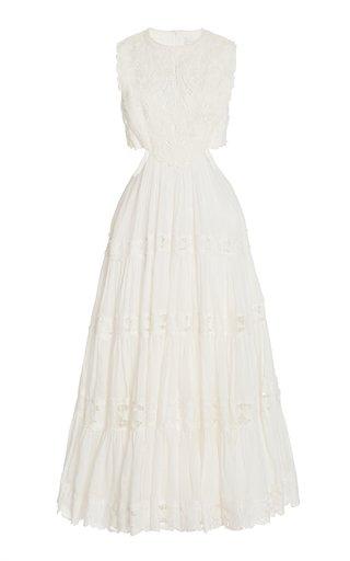 Cassia Cutout Lace-Trimmed Woven Midi Dress