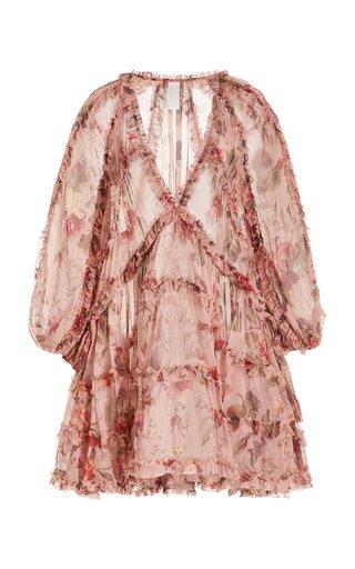 Cassia Frill-Trimmed Georgette Mini Dress