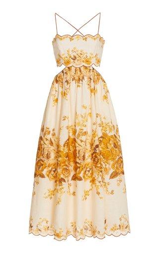 Aliane Cutout Linen Midi Dress