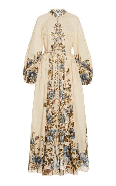 Aliane Belted Floral Linen Maxi Dress