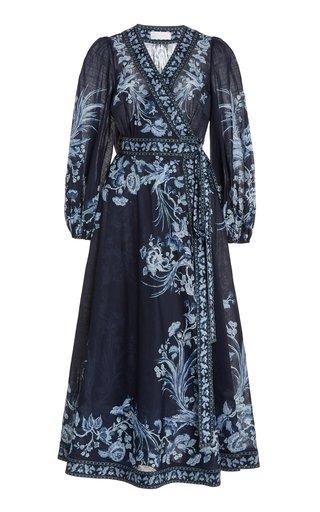 Aliane Floral Cotton Midi Wrap Dress