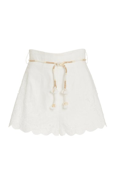 Nina Belted Broderie Anglaise Linen Shorts