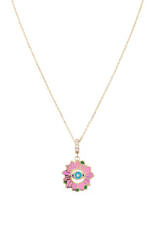 Blossoming Eye Enameled 18K Yellow Gold Diamond Necklace