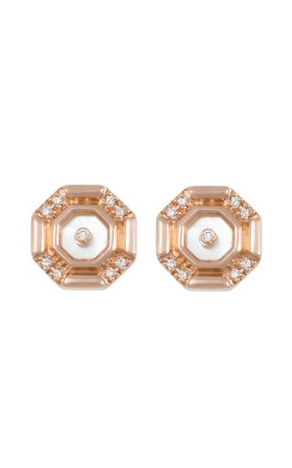 Mini Hexagon 18K Rose Gold Mother-Of-Pearl, Diamond Earrings