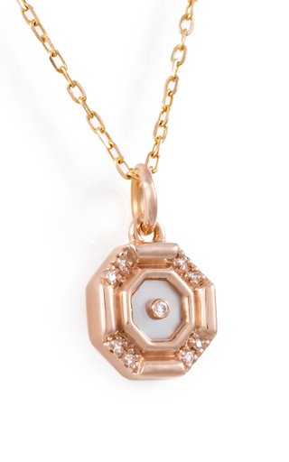 Mini Hexagon 18K Rose Gold Mother-Of-Pearl, Diamond Necklace