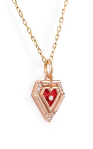 Mini Heart 18K Rose Gold Agate, Diamond Necklace