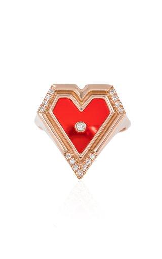Mini Super Heart 18K Rose Gold Agate, Diamond Ring