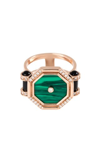 Mini Pillar of Light 18K Rose Gold Malachite, Onyx, Diamond Ring