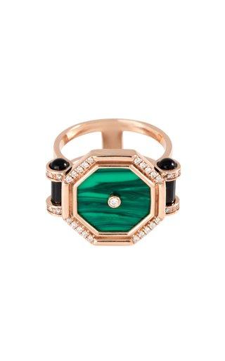 Mini Pillar of Light 18K Rose Gold Malachite, Onyx, Diamond Ring
