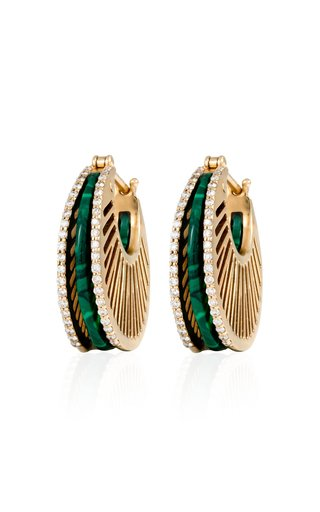Stoned Ray 18K Yellow Gold Malachite, Diamond Hoops