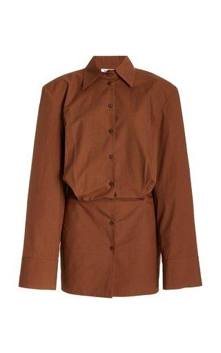 Bold-Shoulder Cotton Mini Shirt Dress
