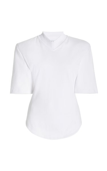 Bold-Shoulder Cotton Jersey T-Shirt