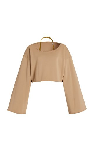 Oversized Cropped Cotton-Blend Halter Sweatshirt