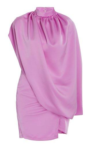 Draped Satin Mini Cape Dress