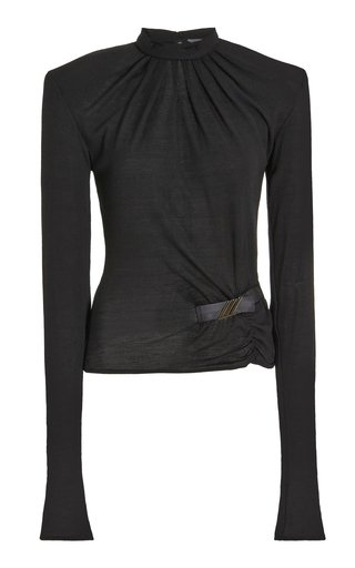 Logo-Detailed Ruched Wool Jersey Top