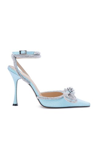 Double Bow Crystal-Embellished Glittered Pumps