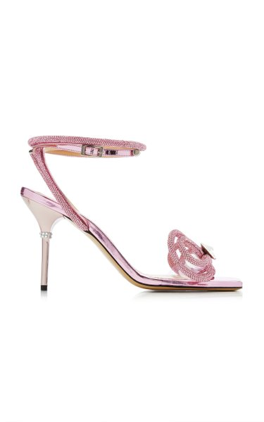 Double Bow Crystal-Embellished PVC Sandals