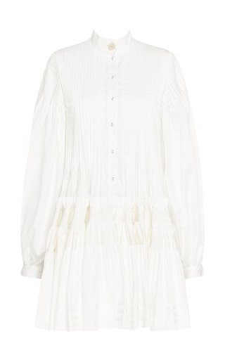 Run Free Pin-Tucked Cotton Mini Dress