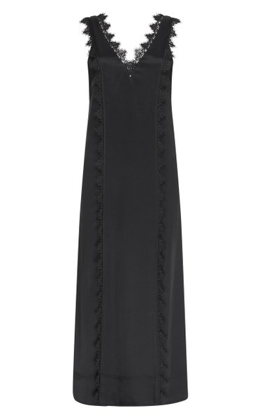 Veil Lace-Trimmed Satin Dress
