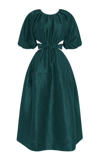 Mimosa Cutout Linen-Blend Midi Dress