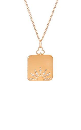 Large Sunrise 18K Rose Gold Diamond Locket Necklace