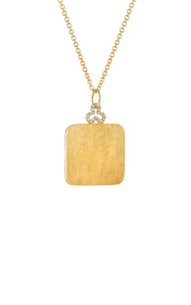 Large Trefoil 18K Yellow Gold Diamond Locket Necklace