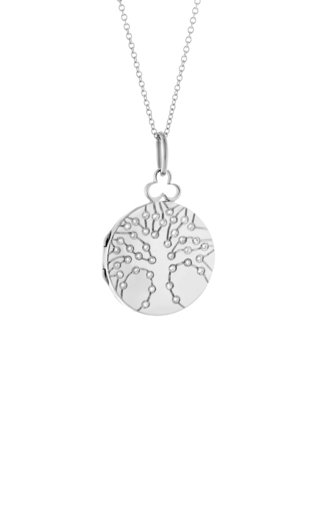 Small Tree of Life 18K White Gold Diamond Locket Necklace