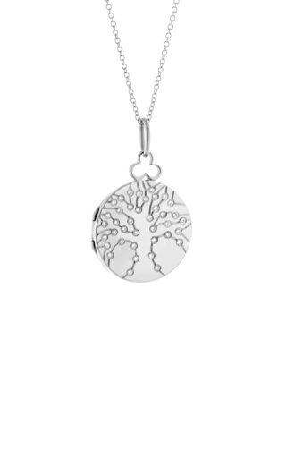 Small Tree of Life 18K White Gold Diamond Locket Necklace