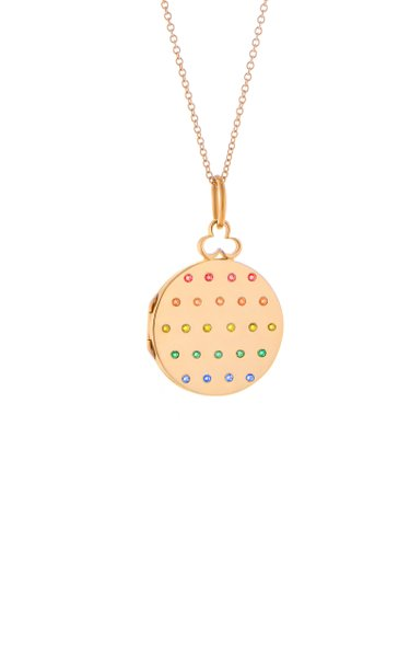 Small Jane 18K Rose Gold Sapphire Locket Necklace