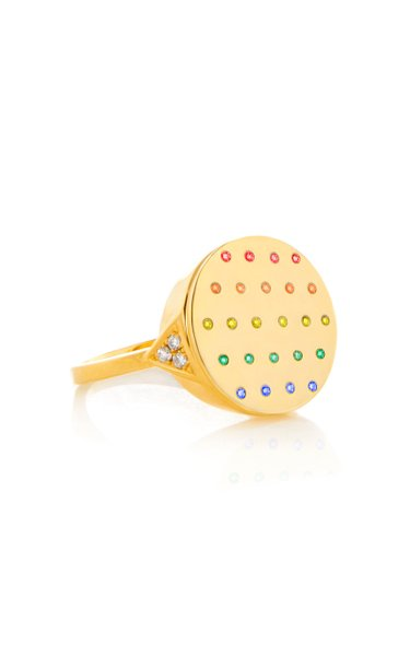 Jane 18K Yellow Gold Sapphire Signet Ring