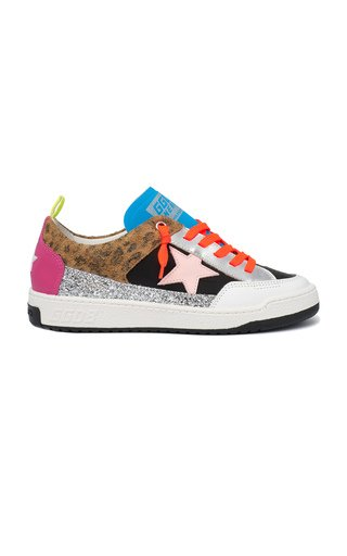 Yeah Leopard-Print Suede and Glittered Sneakers