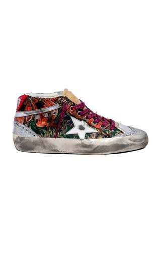 Mid Star Poppies Jacquard and Leather Sneakers
