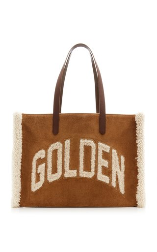California Shearling-Trimmed Suede Tote