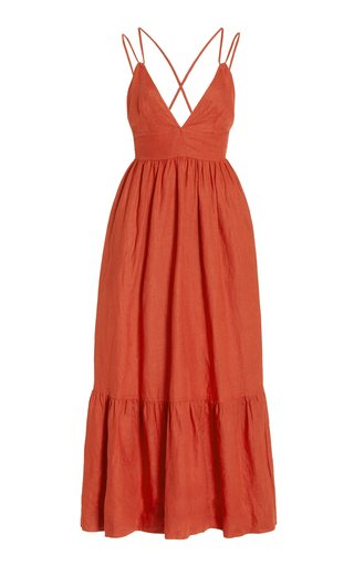 Exclusive Lotus Tiered Linen Maxi Dress