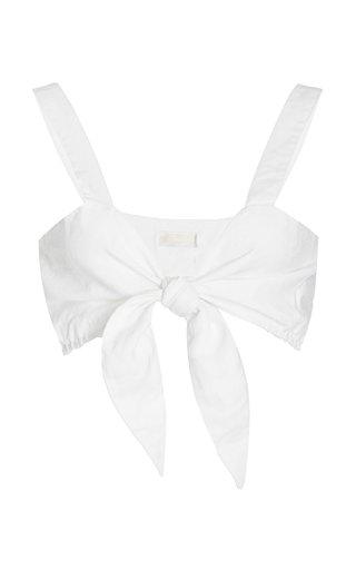 Exclusive Freida Tie-Front Linen Bra Top