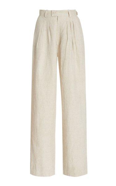Exclusive Pierre Pleated Linen Wide-Leg Trousers