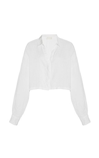 Exclusive Cleo Oversized Cropped Linen Shirt