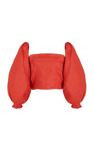 Exclusive Penny Puff-Sleeve Linen Top