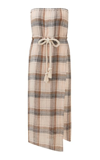Victor Strapless Linen-Blend Midi Dress
