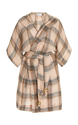 Checked Linen Hooded Mini Dressing Gown