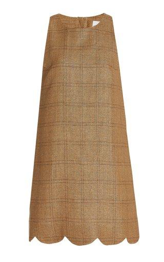 Scalloped Checked Linen Mini Dress