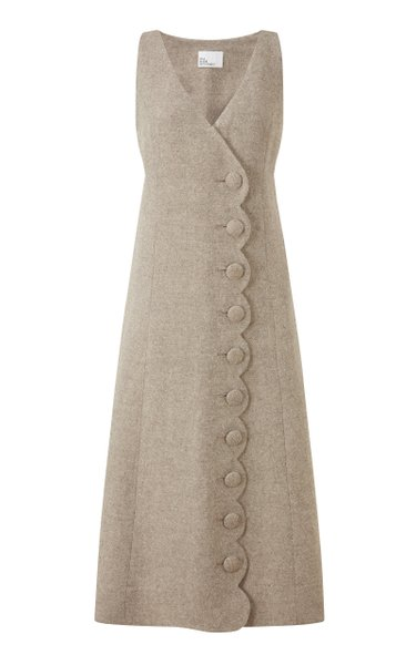 Scalloped Linen-Blend Midi Wrap Dress