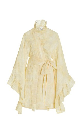 Anita Ruffled Linen-Blend Mini Dress