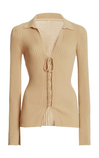 Faye Lace-Up Ribbed-Knit Top