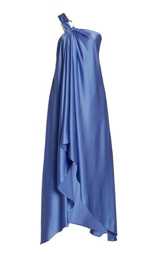 Manu Draped Stretch-Silk One-Shoulder Midi Dress