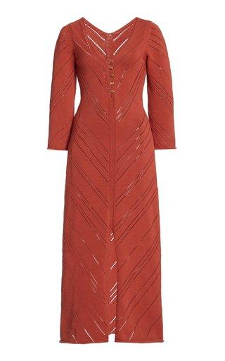 Jhene Cotton-Blend Pointelle-Knit Midi Dress