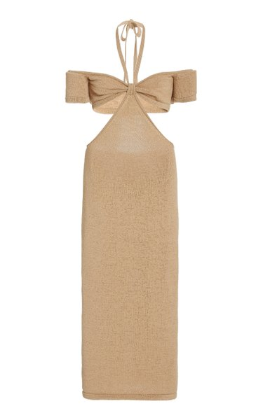 Alicia Cutout Cotton-Blend Knit Off-The-Shoulder Midi Dress